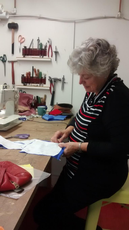 Mum working on her bodice