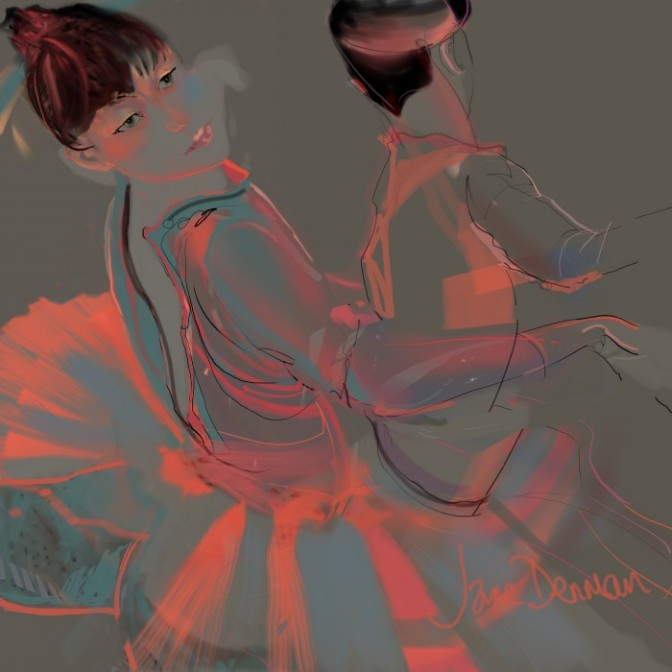 orange, greys, tutus, dancers, movement